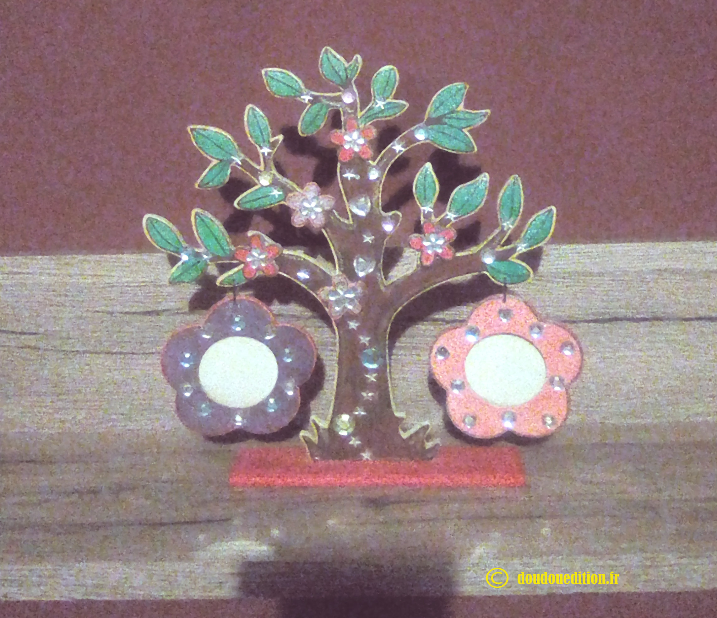 Fancy photo tree, colored with mirror rhinestones in the shape of hearts, diamonds