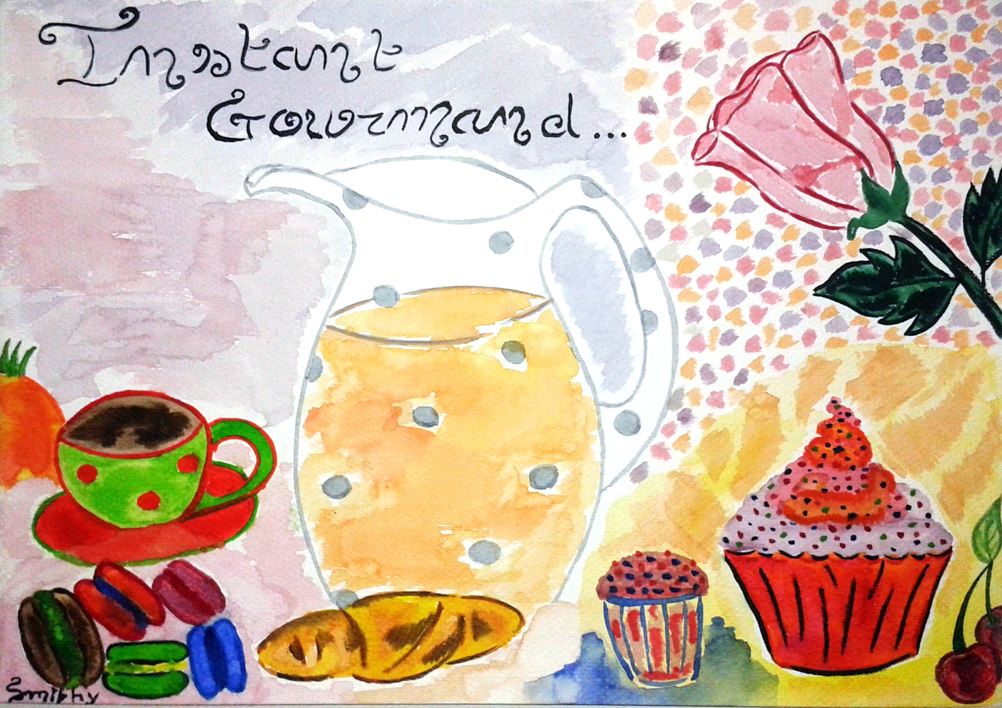 watercolor illustration: instant gourmand