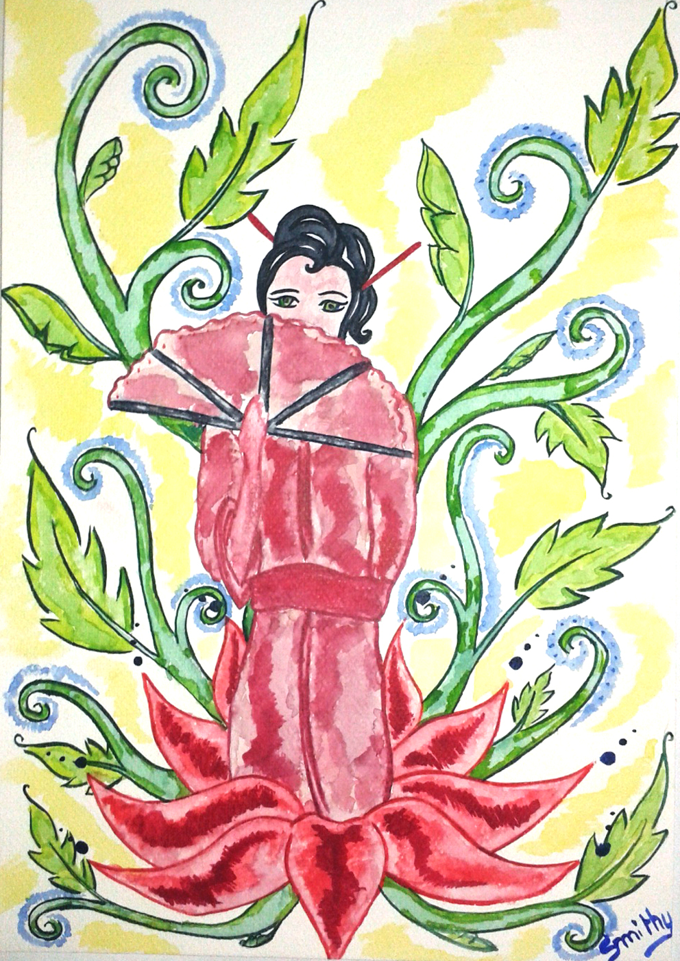 watercolor illustration :  woman lotus !