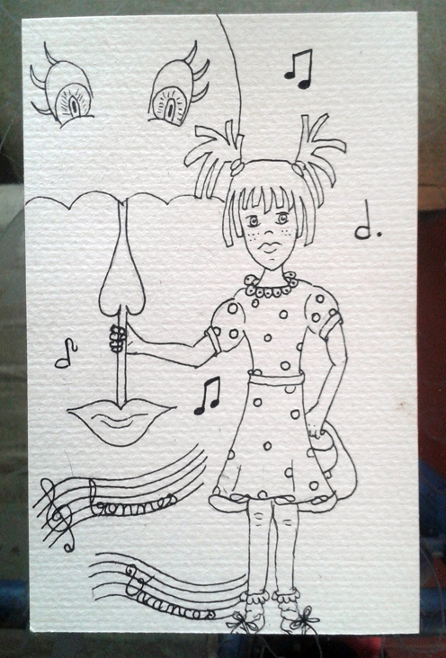 The singing umbrella and Sophie wish your friends a happy holiday! postcard