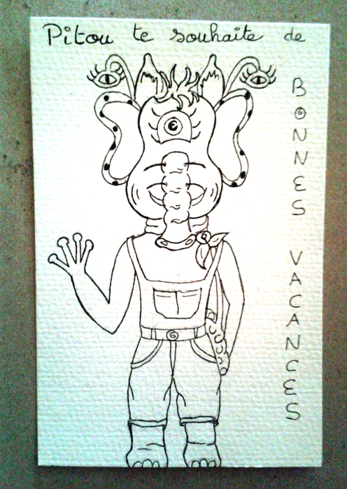 Pitou wishes your friends a happy holiday on your behalf!  poscard to color !